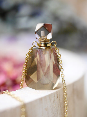 Smoky Quartz Essential Oil / Perfume Bottle Necklace