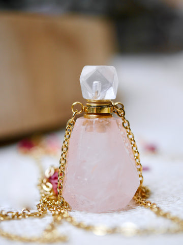 Rose Quartz Essential Oil / Perfume Bottle Necklace