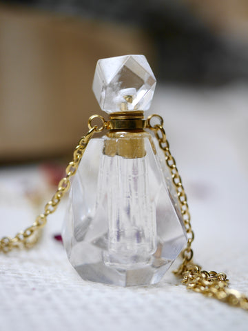 Clear Quartz Essential Oil / Perfume Bottle Necklace