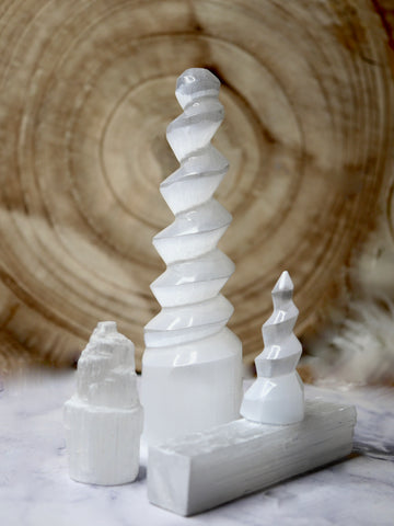 Tall Spiral Selenite Tower
