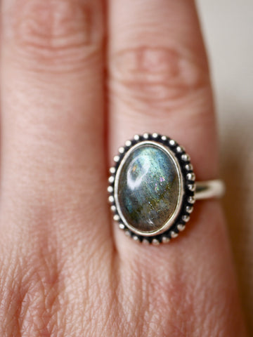 Adjustable Labradorite Ring- Silver