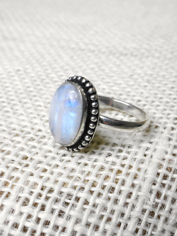Adjustable Moonstone Ring -Silver