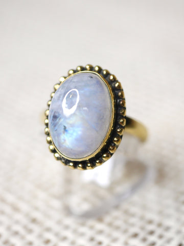 Adjustable Moonstone Ring -Brass