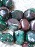 Malachite and Cuprite tumbled stone