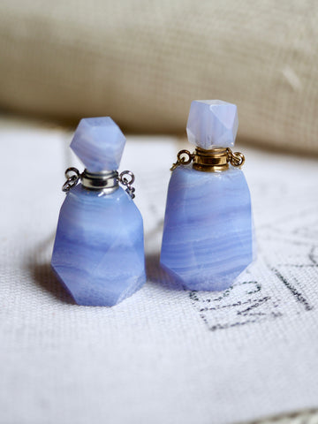 Blue Lace Agate Essential Oil / Perfume Bottle Necklace