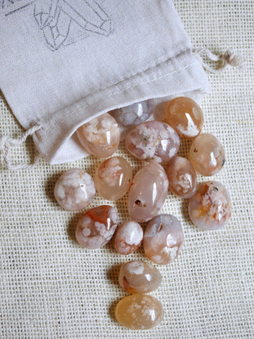 Cherry Blosson Flower Agate Tumbled Stones