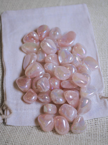 Rose Aura tumbled stone