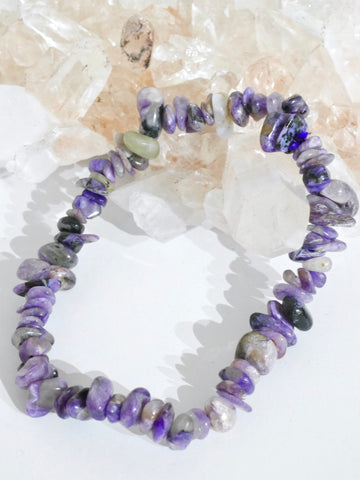 Charoite polished chip bracelet