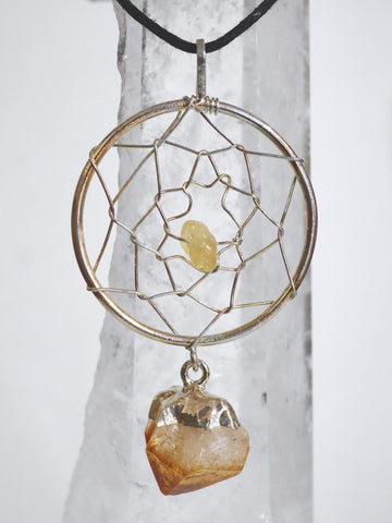 wire wrap Citrine dream catcher necklace