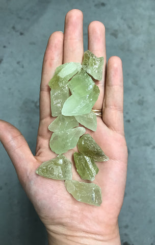 Green calcite pocket stones