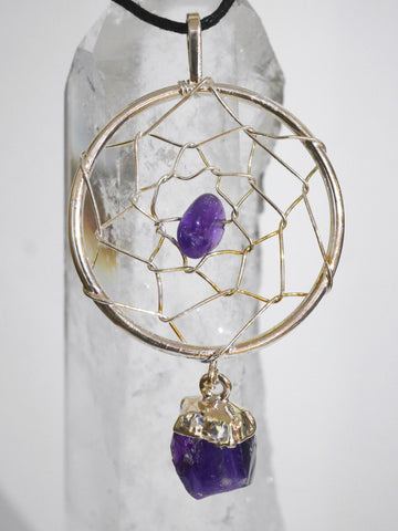 Wire wrap Amethyst dream catcher necklace