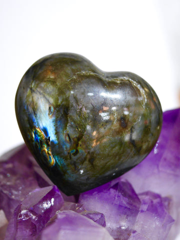 Labradorite heart carving