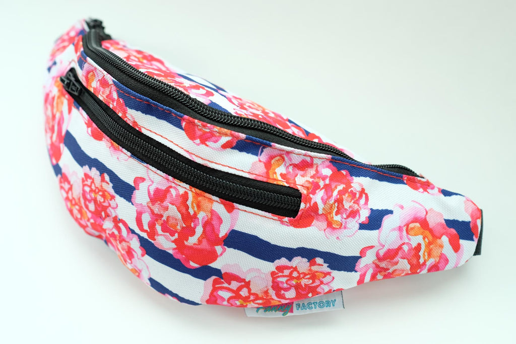 Pink Roses and Blue Striped Fanny Pack by Fanny Factory