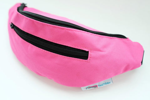 Pink Fanny Pack by Fanny Factory - water resistant with black zippers and a beautiful pink finish.