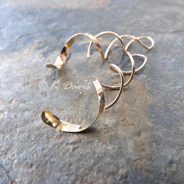 long spiral earrings in 14k yellow gold fill