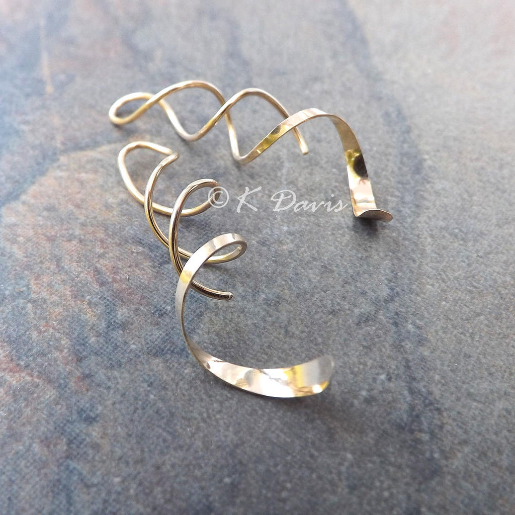 gold helix spiral earrings