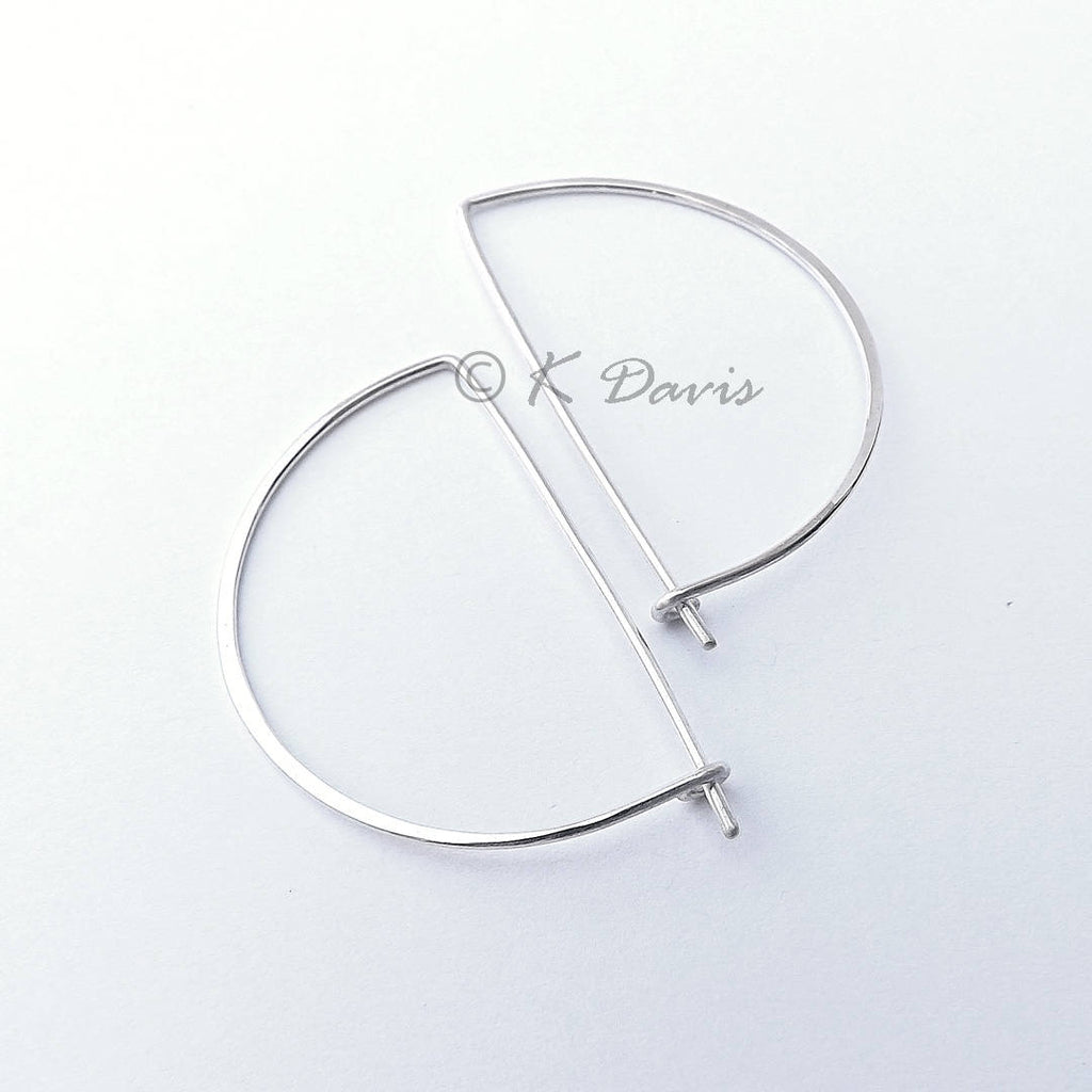 silver half round hoop earrings