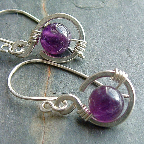 Amethyst Coil Earrings, Small