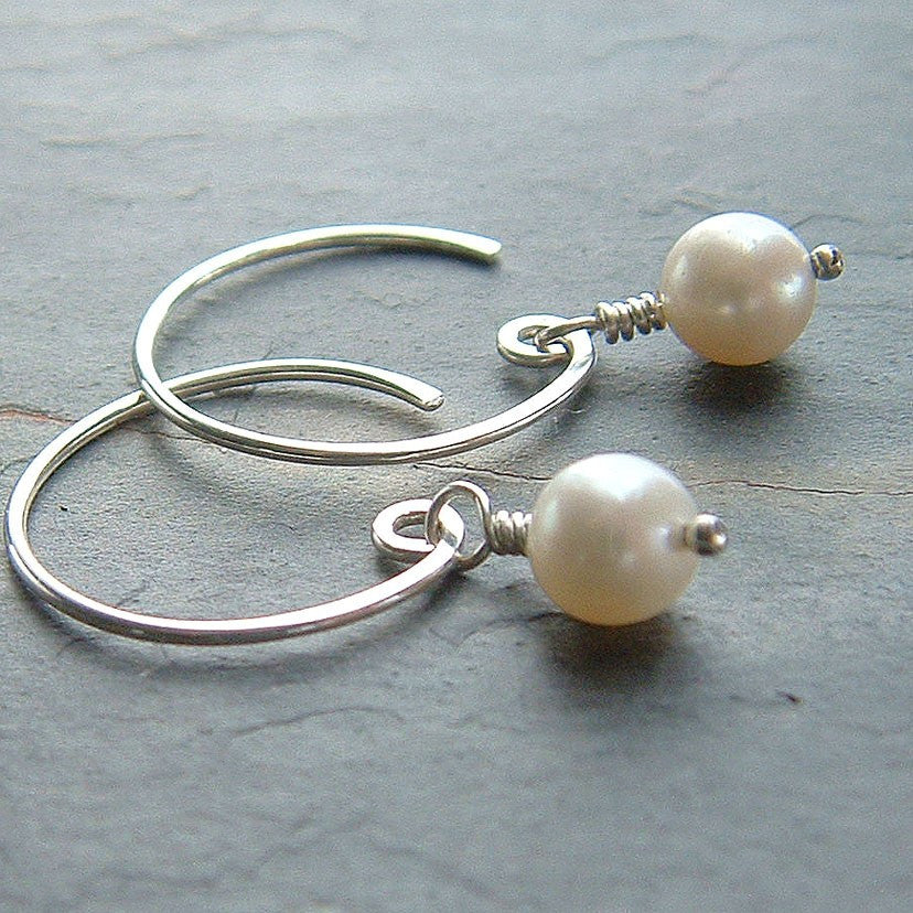 Pearl Open Hoop Earrings