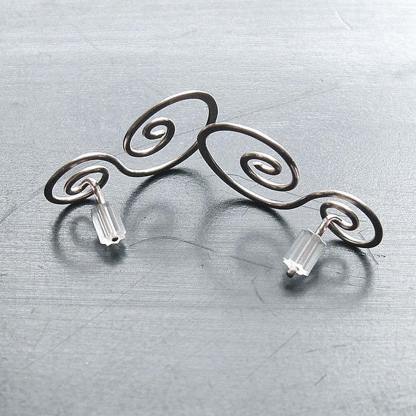 silver swirl earring backs