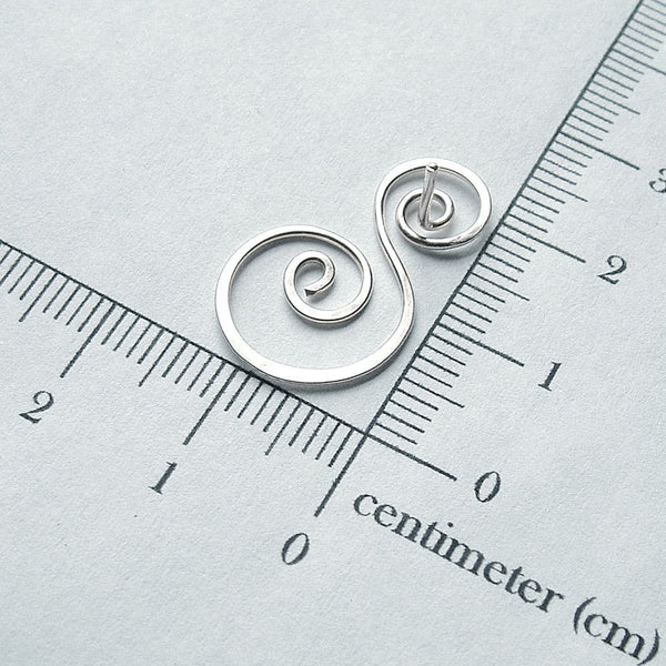 silver swirl post earring measurment