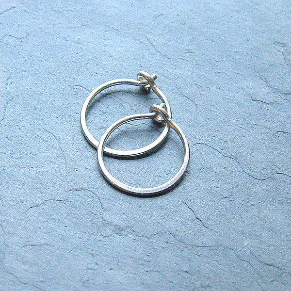 tiny silver hoops