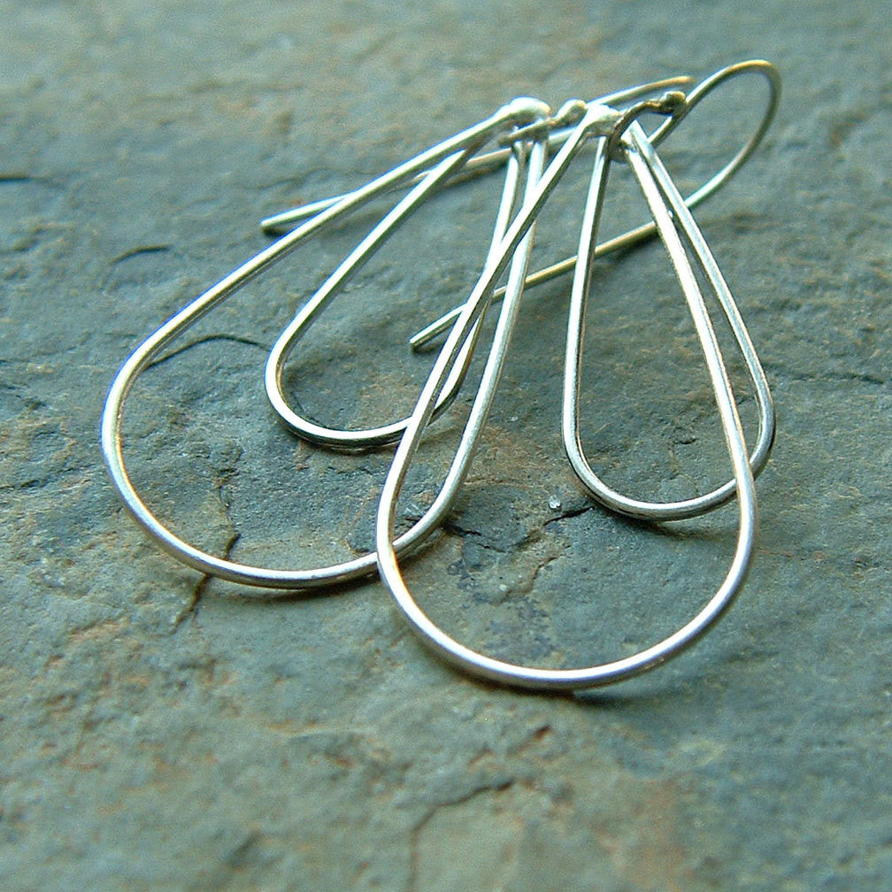 silver loop dangle earrings