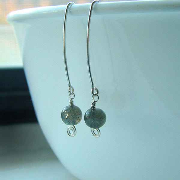 Silver Labradorite Dangle Earrings