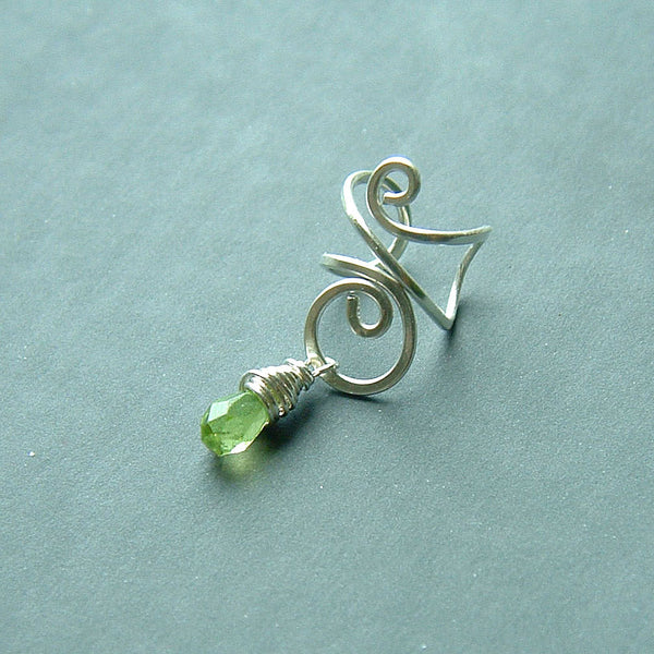 Silver Ear Cuff with Peridot Drop