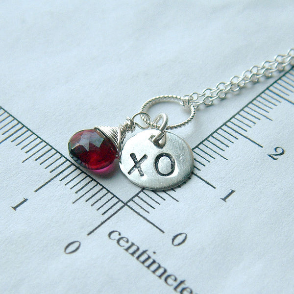 Garnet and Silver XO Necklace