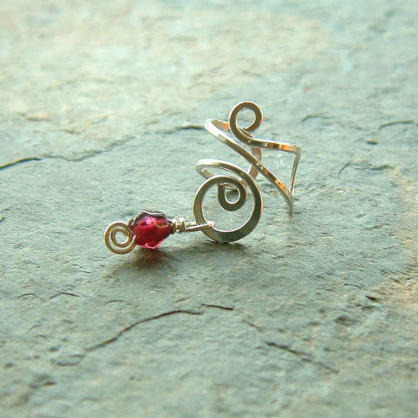 Silver Ear Cuff Swirl Garnet Earcuff Single