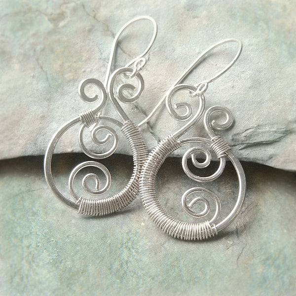 wire wrap paisley earring