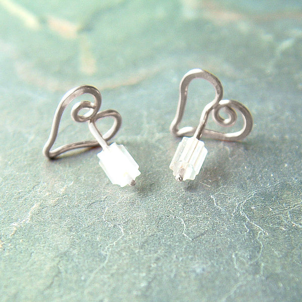 Small Heart Posts Earrings in Sterling Silver