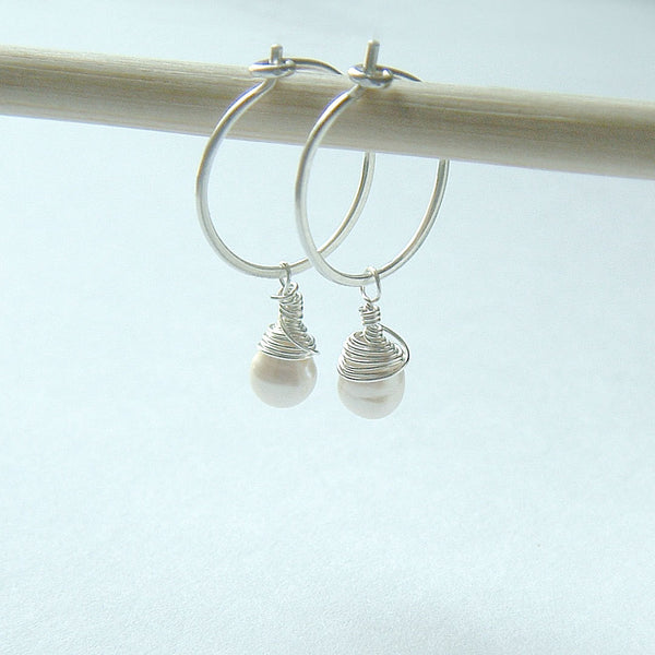 Silver Hoop Earrings Wire Wrap Pearl