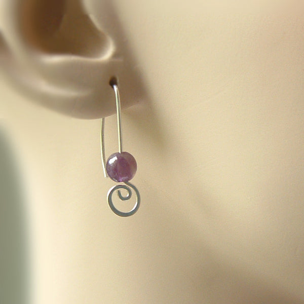 Amethyst Earrings Open Hook with Coil