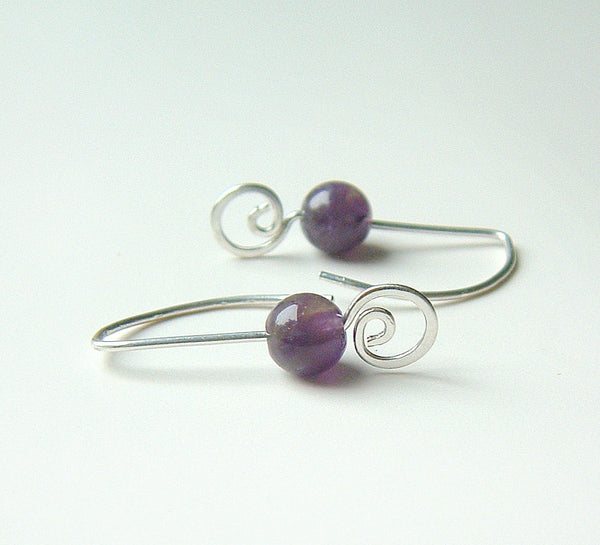 amethyst coil earrings