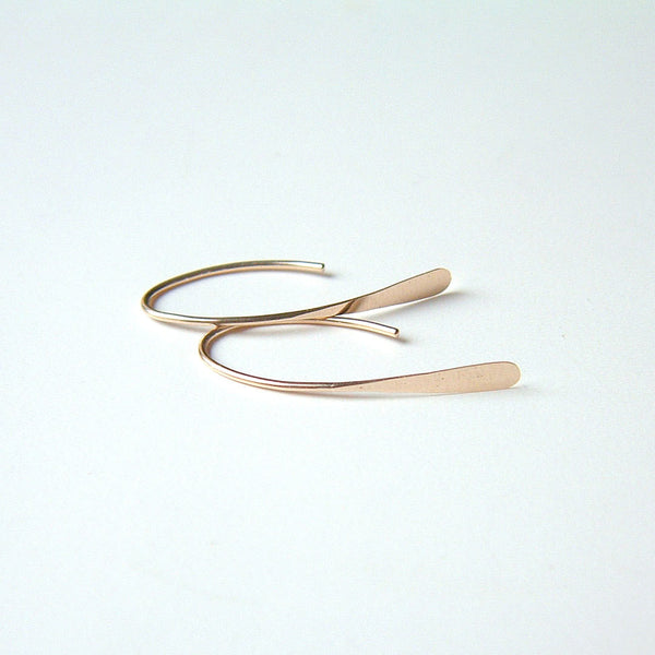 rose gold arc threader earrings
