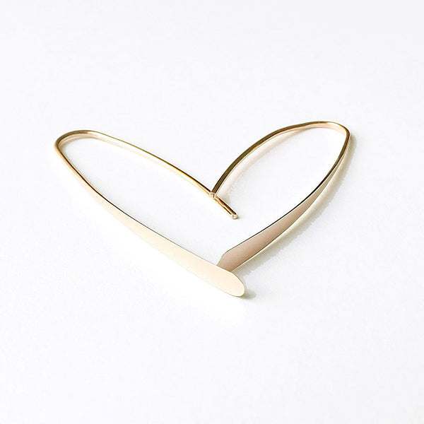 14k Gold Modern Wishbone Earrings
