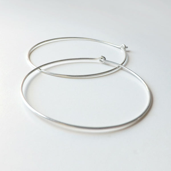 Sterling Silver Hoop Earrings Large 2 inch Hoops
