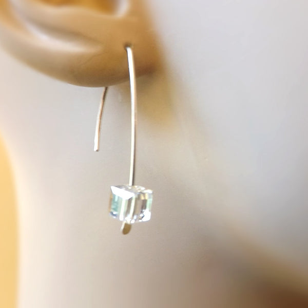 Clear Cube Earrings in Sterling Silver, Ice