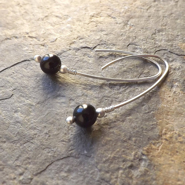 Silver Open Wishbone Hoop Earrings, Black Obsidian