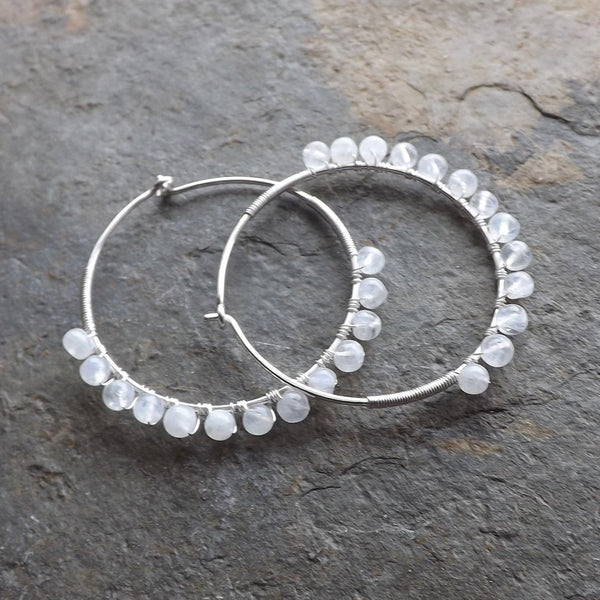 Sterling Silver Hoop Earrings Moonstone
