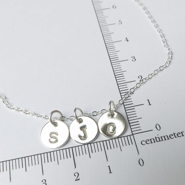 initial necklace measurement