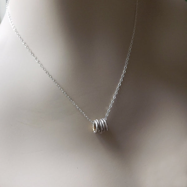 Tiny Silver Rings Necklace