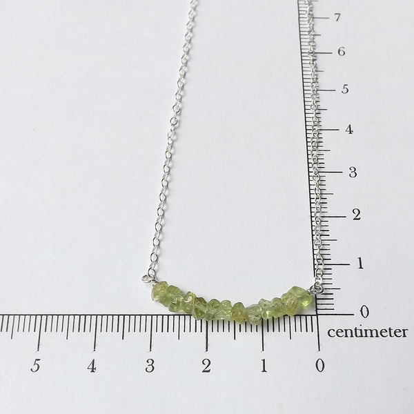 Peridot Bar Necklace in Sterling Silver