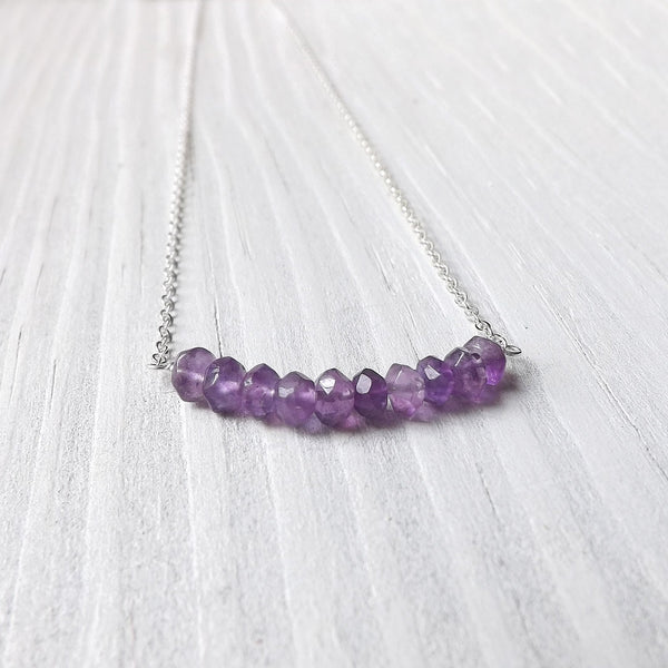 Amethyst Bar Necklace in Sterling Silver