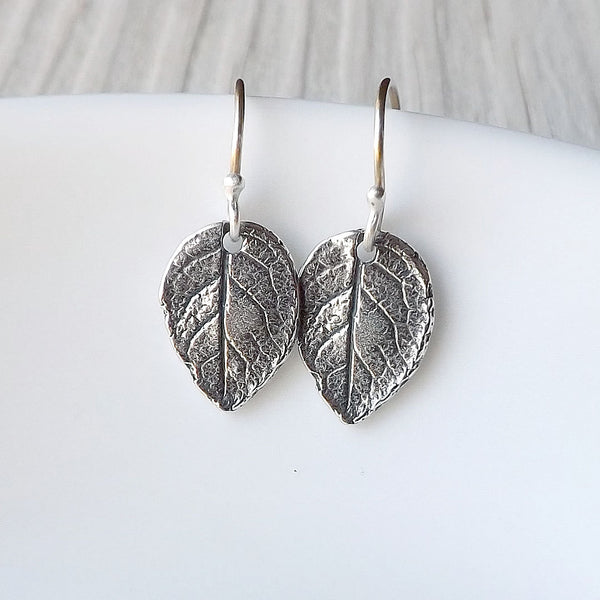 tiny leaf earring