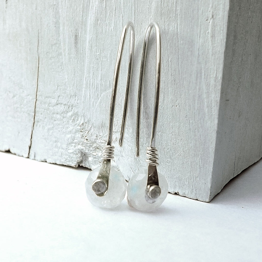 moonstone rivet earrings