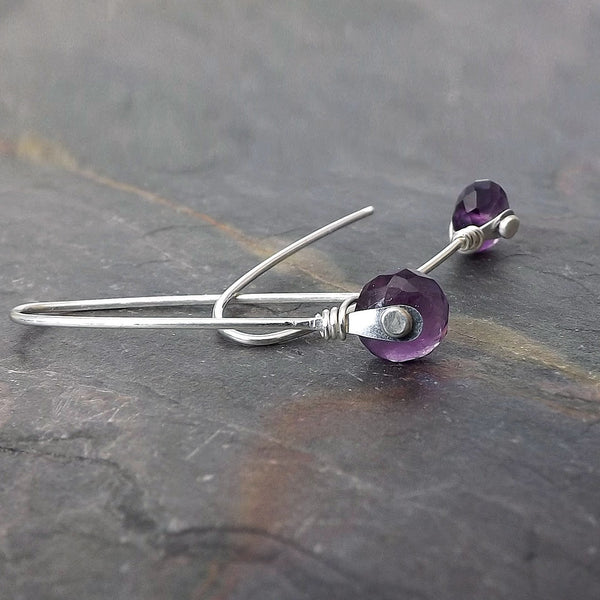 amethyst rivet earrings