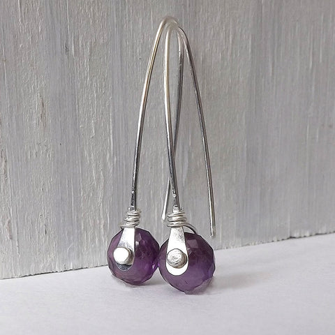 Amethyst Rivet Earrings in Sterling Silver